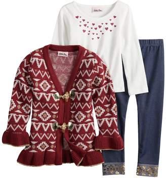 Little Lass Toddler Girl Tribal Lurex Cardigan, Foiled Hearts Tee & Cuffed Jeggings Set