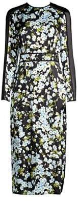 Escada Long-Sleeve Floral Silk Midi Dress