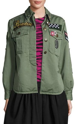 Marc Jacobs Paradise-Appliqué Military Jacket, Military Green $795 thestylecure.com