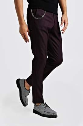 Jaspe Mini Check Smart Trouser With Chain