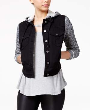 Tinseltown Juniors' French Terry Hooded Denim Jacket