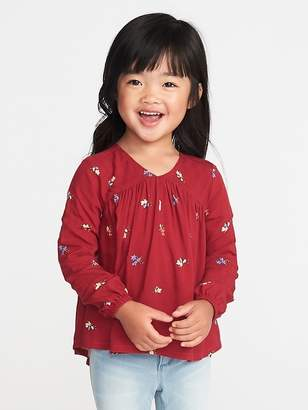 Old Navy Floral V-Neck Blouse for Toddler Girls