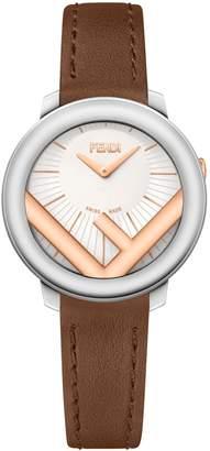 Fendi Run Away Leather Strap Watch, 28mm