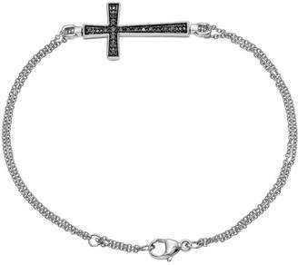 Diamond Cross Bracelet, Sterling, 1/10 ctt w, by Affinity