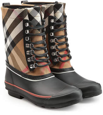 Burberry Rubber Rain Boots with Checked Fabric and Leather