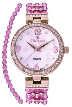 Croton Ladies Purple Swarovski Bead Watch with Austrian Crystals and Coordinated Bracelet