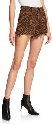 Alexander Wang Bite Leopard-Print Denim Cutoff Shorts