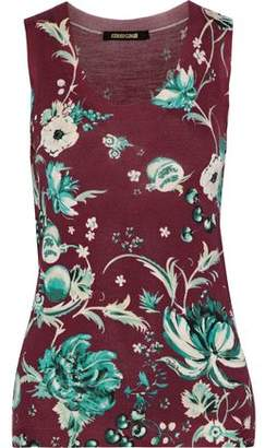 Roberto Cavalli Floral-Print Wool Cashmere And Silk-Blend Tank