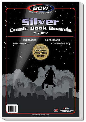 Asstd National Brand Bcw Comic Book Silver Backing Boards, 7 X 10 1/2, Silver (100 Boards Per Pack)