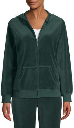ST. JOHN'S BAY SJB ACTIVE Active Long Sleeve Velour Jacket - Tall