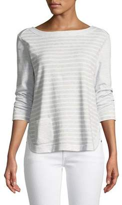 Joan Vass Luxe Cotton Interlock Top with Back-Zip Detail