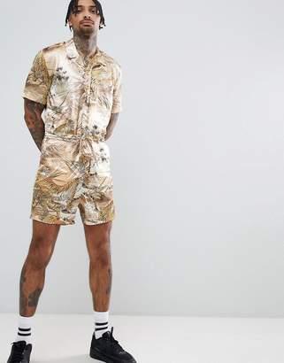 Asos DESIGN Short Boilersuit In Safari Print