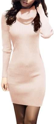 V28® Women Vintage Cowl Neck Stripe Kint Stretchable Elasticity Long Sleeve Slim Fit Sweater Dress XS/S US2~8
