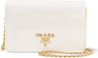 Prada - Wallet On A Chain Textured-leather Shoulder Bag - Ivory $1,270 thestylecure.com