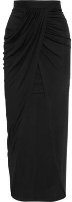 Balmain - Wrap-effect Jersey Skirt - Black $2,080 thestylecure.com