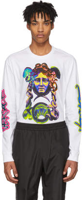 Versace White Long Sleeve Graffiti T-Shirt
