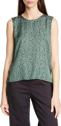 Eileen Fisher Abstract Pattern Silk & Cotton Sleeveless Top