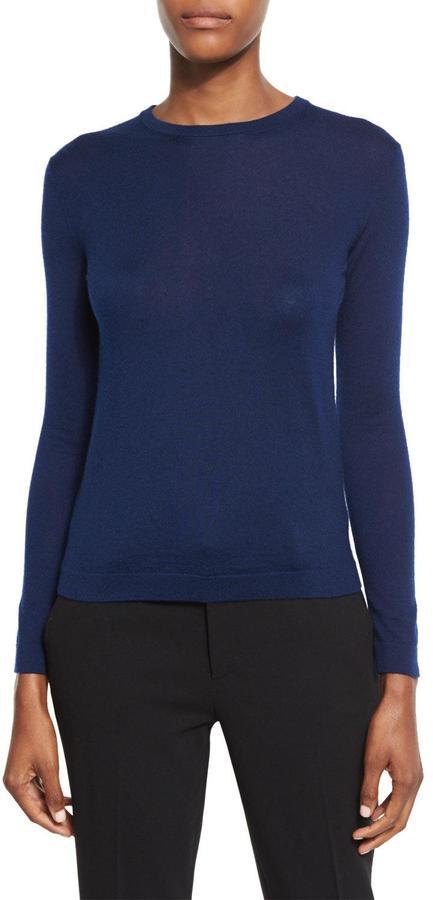 Ralph Lauren Collection Long-Sleeve Crewneck Cashmere Sweater, Prussian Blue