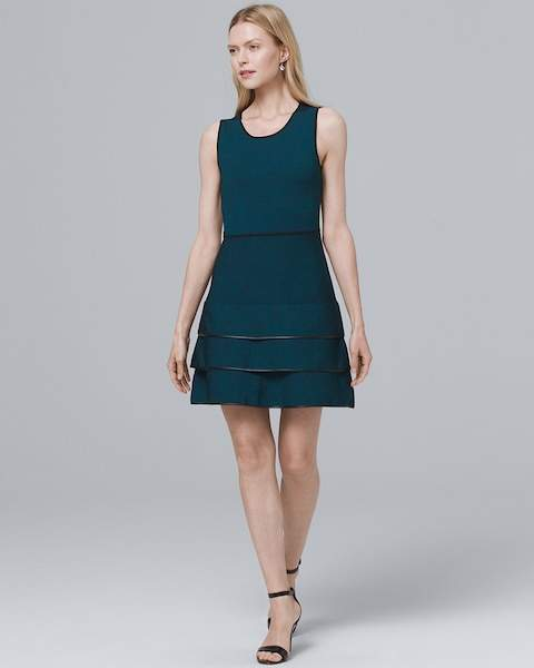 Whbm Faux Leather-Piping A-Line Dress