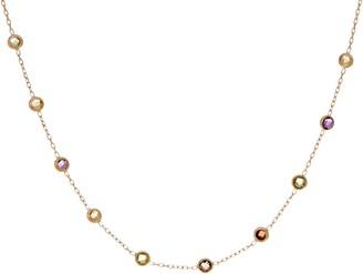 "Italian Gold 16"" Gemstone Station Necklace, 14K Gold 1.2g"