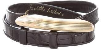 Judith Leiber Embossed Leather Belt