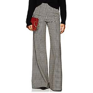 Derek Lam Women's Checked Wide-Leg Flared Trousers - Brown Multi