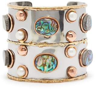 Sylvia Toledano - Sea Opal And Pearl Hammered Cuff - Womens - Blue