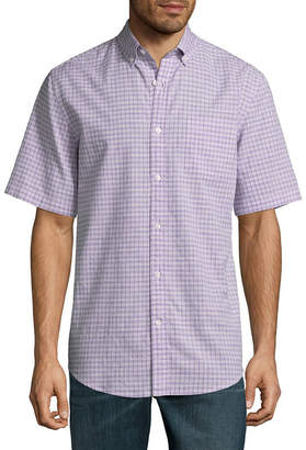 ST. JOHN'S BAY Short Sleeve Checked Button-Front Shirt