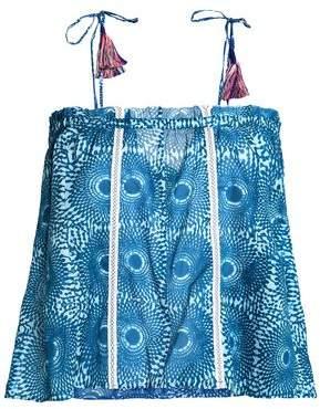 Lemlem Woman Tasseled Printed Cotton-mousseline Top Royal Blue Size S Lemlem Free Shipping Best Seller Classic Cheap Manchester Perfect vcH7B