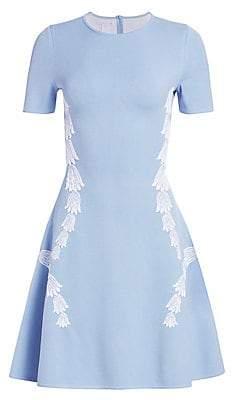 Oscar de la Renta Women's Short Sleeve Embroidered Tulip A-Line Dress