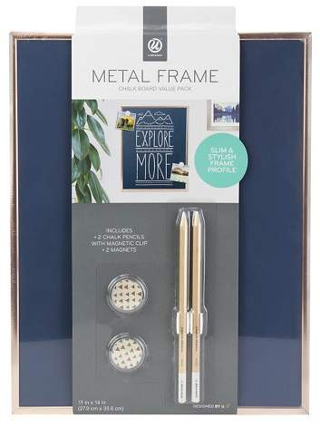 Ubrands Copper Frame Magnetic Blue Chalk Board - 11