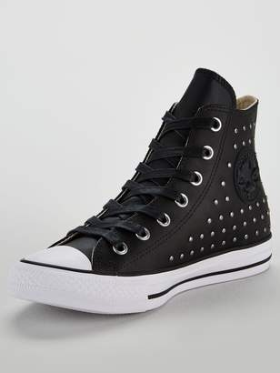 9b2b968eb434ec Converse Chuck Taylor All Star Leather Stud Hi-Top - Black