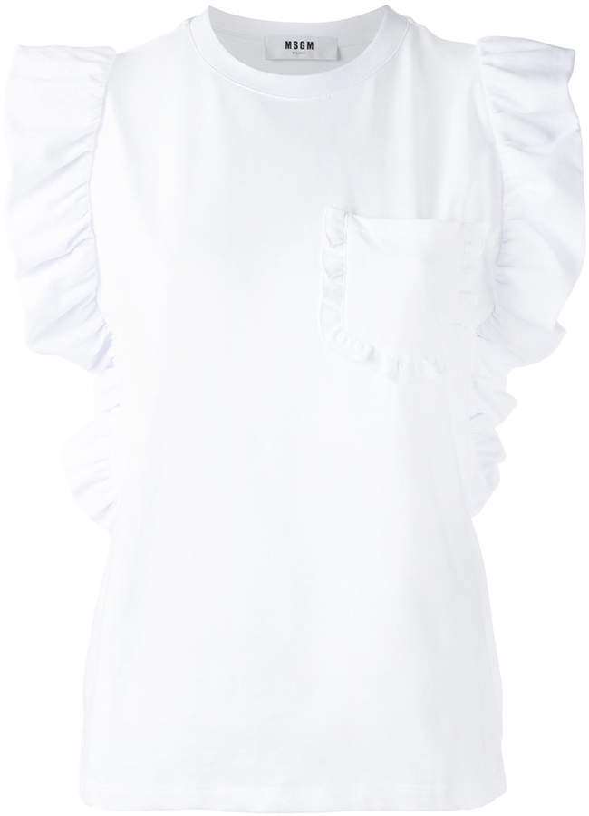 MSGM frill detail sleeveless top