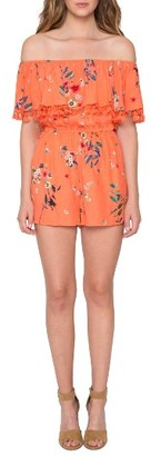 Women's Willow & Clay Off The Shoulder Ruffle Romper $89 thestylecure.com
