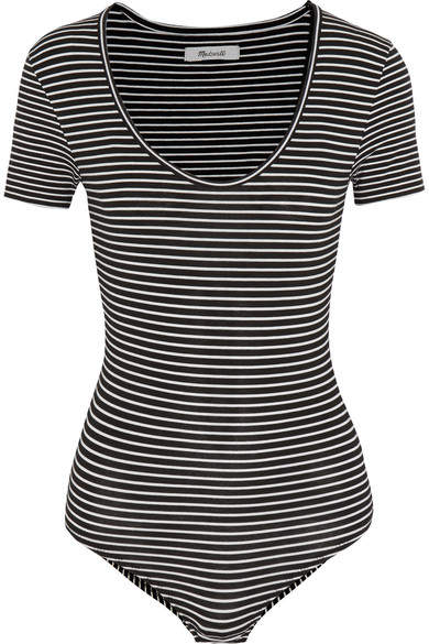 Madewell - Striped Stretch Cotton-blend Jersey Bodysuit - Black