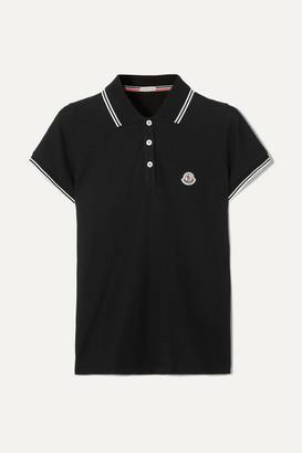 Moncler Striped Cotton-piqué Polo Shirt - Black