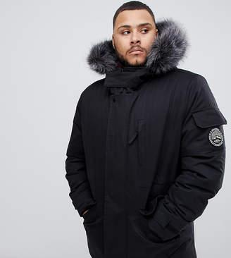 Bellfield parka with faux fur hood in black