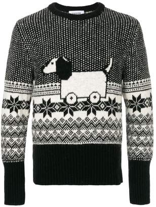 Thom Browne Hector Toy Icon Mohair Tweed Crewneck Pullover