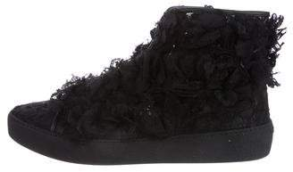 Chanel Camellia Lace High-Top Sneakers