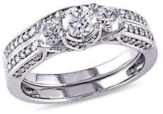 Concerto 1.10CT Diamond 14K White Gold Three-Stone Bridal Set
