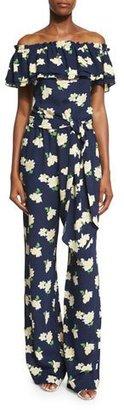 Michael Kors Off-The-Shoulder Floral-Print Jumpsuit, Indigo/White $2,150 thestylecure.com