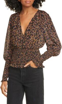 Nicholas Floral Smocked Silk Blouse