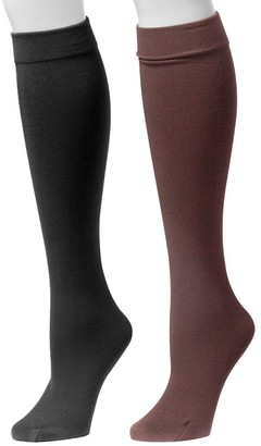 Muk Luks Women's Fleece-Lined Knee-High Socks 2 -Pair Pack