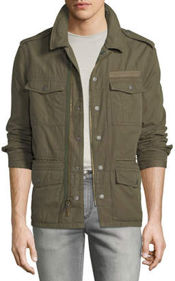 John Varvatos Men's Garment-Dyed Field Jacket with Dragon
