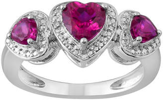 FINE JEWELRY Womens Diamond Accent Lab Created Red Ruby Sterling Silver Heart 3-Stone Band