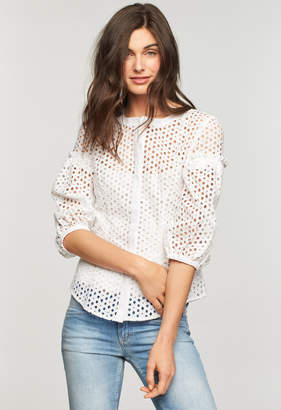 Milly FLORAL COTTON EYELET MICHELLE BLOUSE