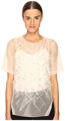Prabal Gurung Short Sleeve Embroidered Blouse Women's Blouse