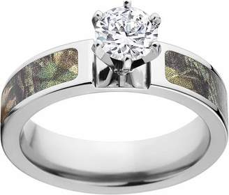 Mossy Oak New Break Up Camo 1 Carat T.G.W. Round CZ in 14kt White Gold Prong Setting Cobalt Engagement Ring with Polished Edges and Deluxe Comfort Fit