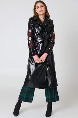 NA-KD Na Kd Flower Embroidery Patent Coat Black