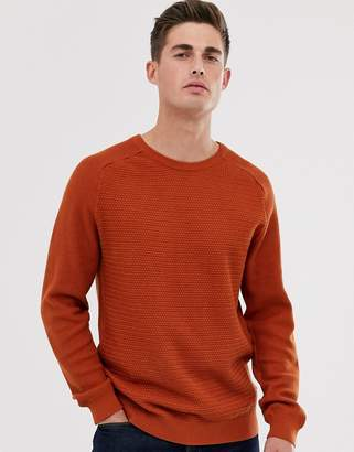 Jack and Jones cotton crew neck textured jumper in orange